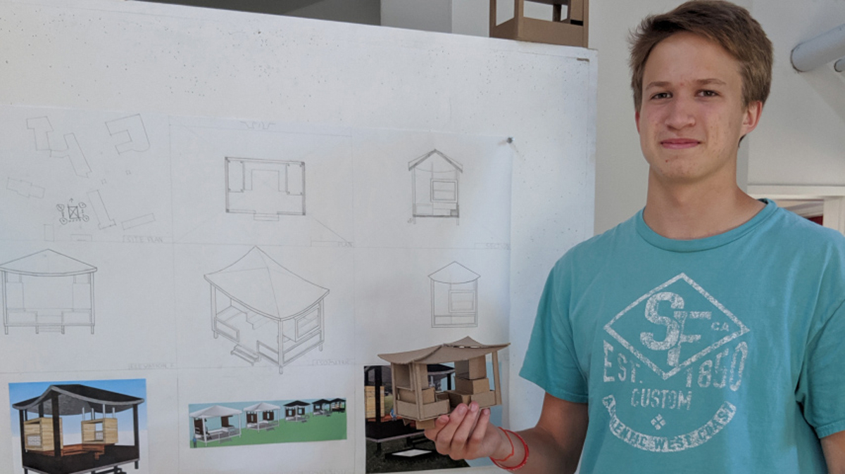 student showing work