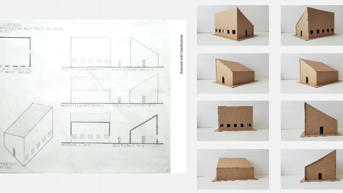 project drawing and photograph of model